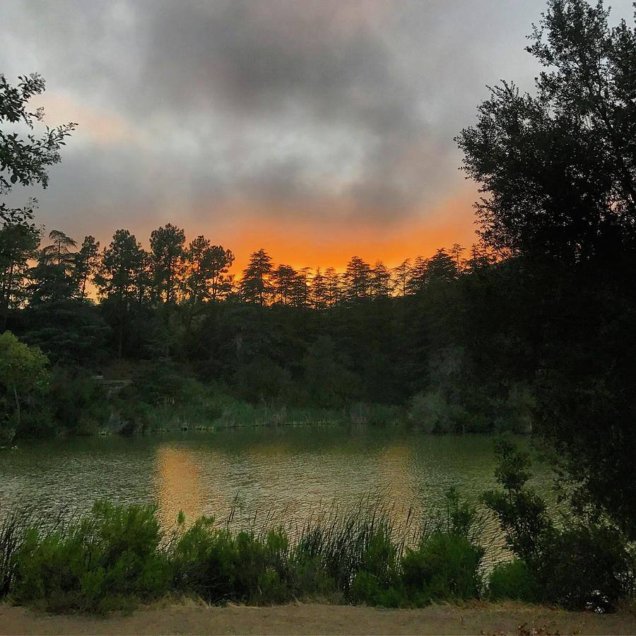 Nature Photograph - Sunset Above The Forest And Lake by Lorie Stevens