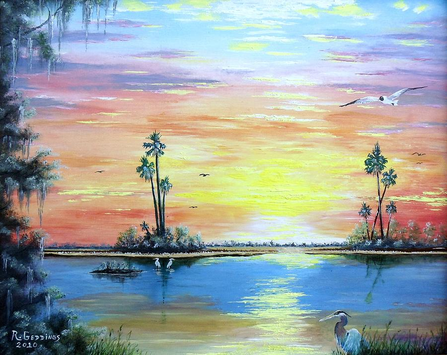 Art Work Painting - Sunset Afterglow by Riley Geddings