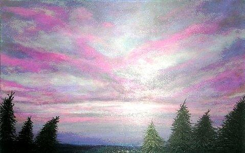 Sunset Painting - Sunset Amongst Spruces by Marie-Line Vasseur