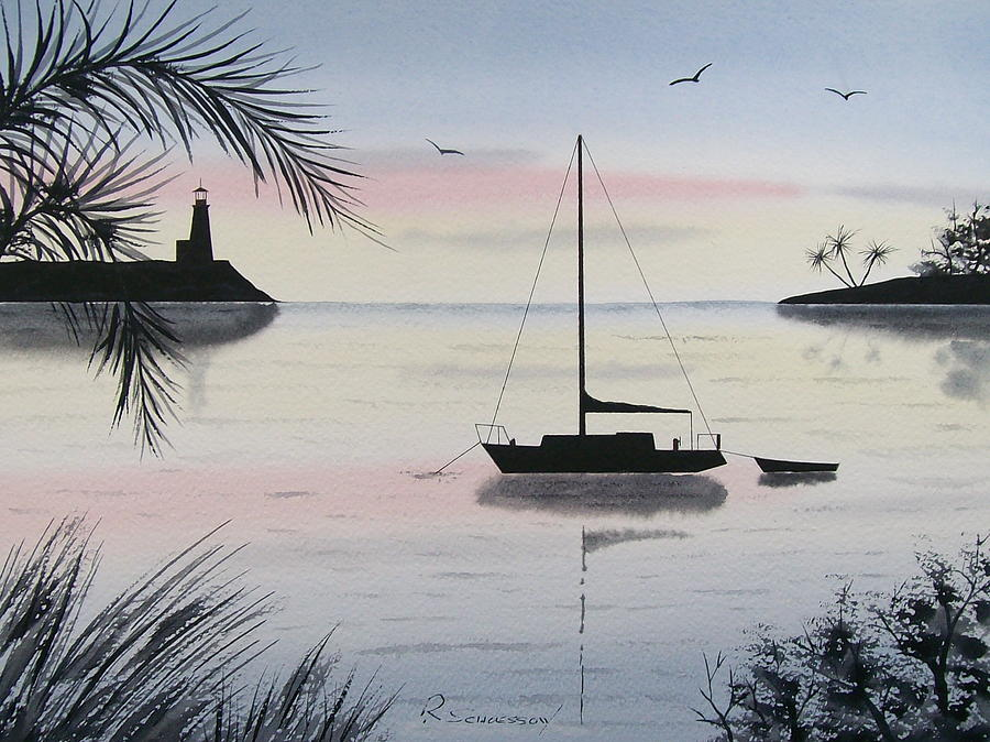 Seascape Painting - Sunset Anchorage 4 by Richard Schoessow