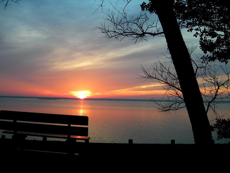 Sunset Painting - Sunset And Bench by Kathern Welsh