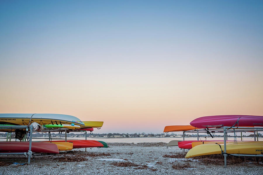 Sunset Photograph - Sunset And Kayaks by Lorrie Joaus