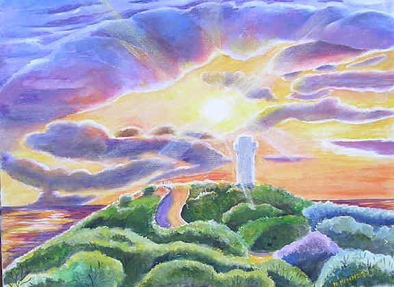 Landscape Painting - Sunset And Light House by Norma Hennessy
