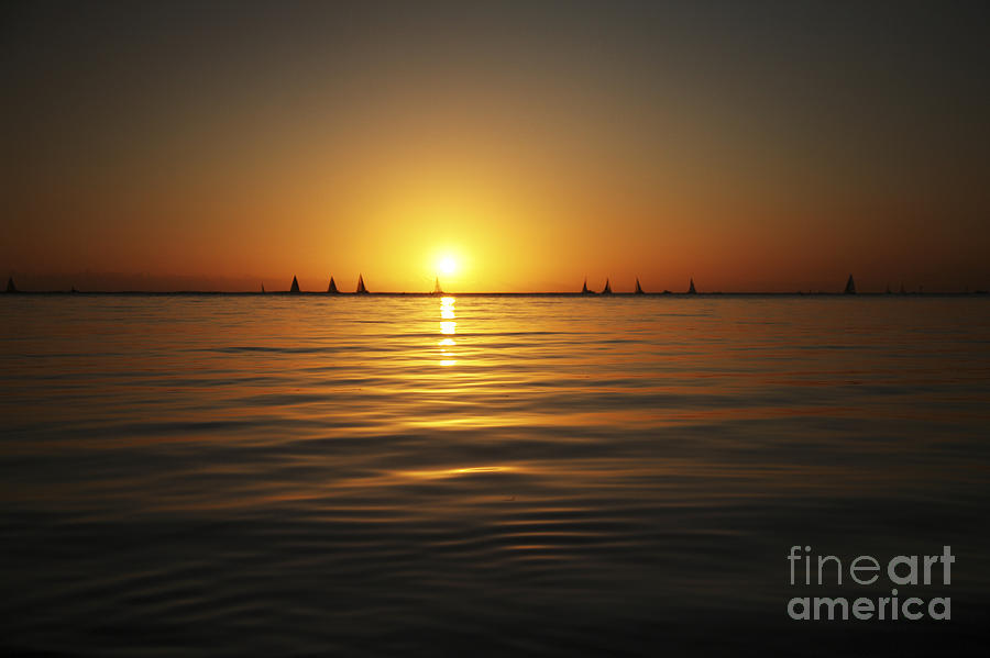Amazing Photograph - Sunset And Sailboats by Brandon Tabiolo - Printscapes