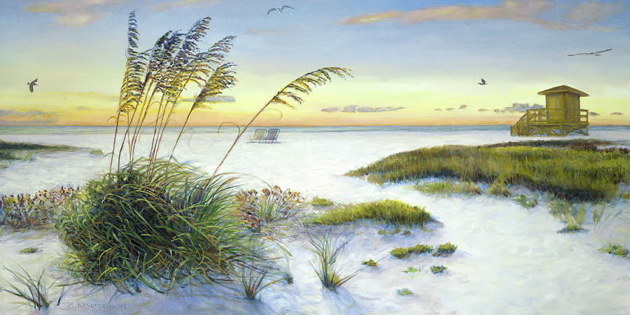 Sea Oats Painting - Sunset And Sea Oats At Siesta Key Public Beach -wide by Shawn McLoughlin