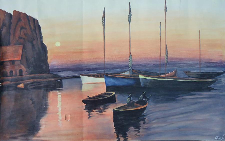 Boats Painting - Sunset And Silence  by Praveen Chenna