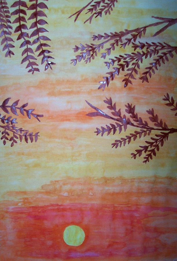 Sunset Painting - Sunset And Tree Leaves by Rashmi Kemnaik