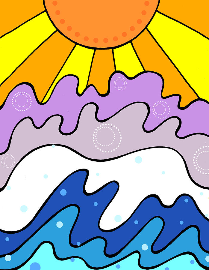 Sunset Drawing - Sunset And Waves by Jayme Kinsey