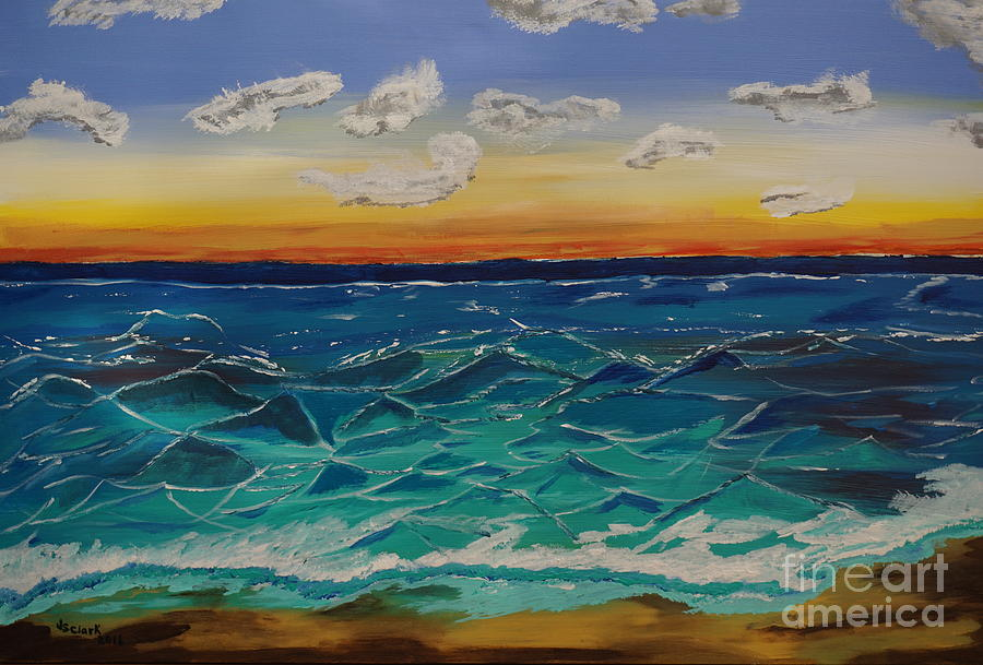 Sunset and Waves by Jimmy Clark
