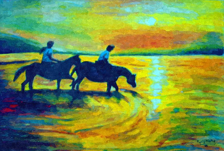 Landscapes Painting - Sunset by Anthony Renardo Flake