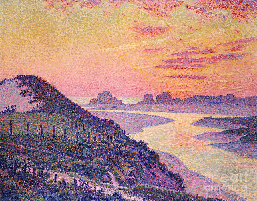 Sunset Painting - Sunset At Ambleteuse Pas-de-calais by Theo van Rysselberghe