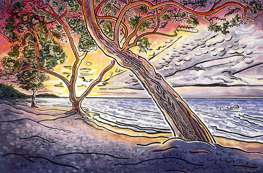 Anaeho'omalu Painting - Sunset At Anaehoomalu Bay by Fay Biegun - Printscapes