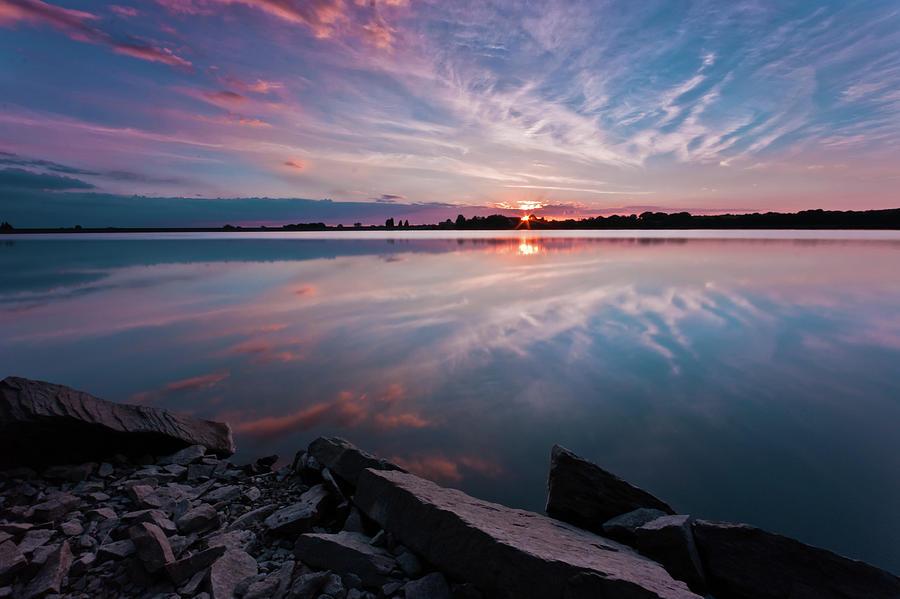 Sunrise Photograph - Sunset at Anglezarke Reservoir #1, Rivington, Lancashire, North West England by Anthony Lawlor