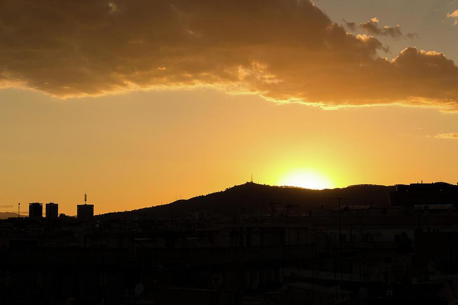 Sunset Photograph - Sunset At Barcelona by Victor Vega