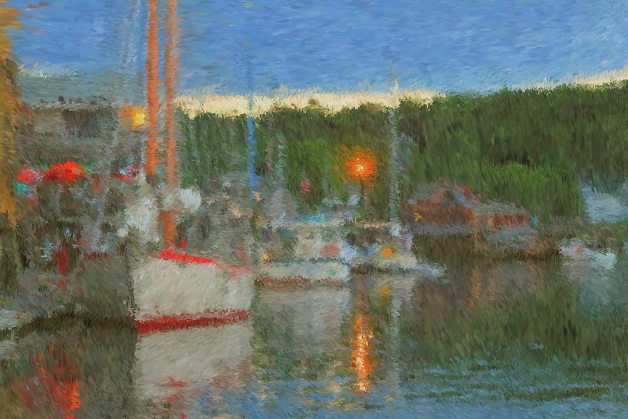 Boothbay Harbor Painting - Sunset At Boothbay Harbor Maine by Viktor Arsenov