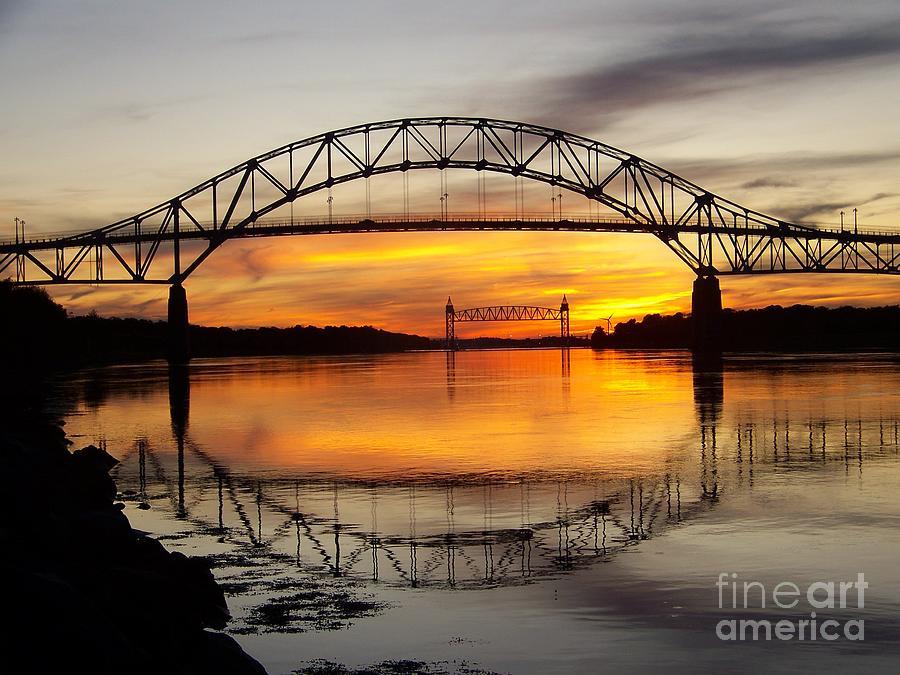 Sunset At Bourne Bridge Photograph By John Doble