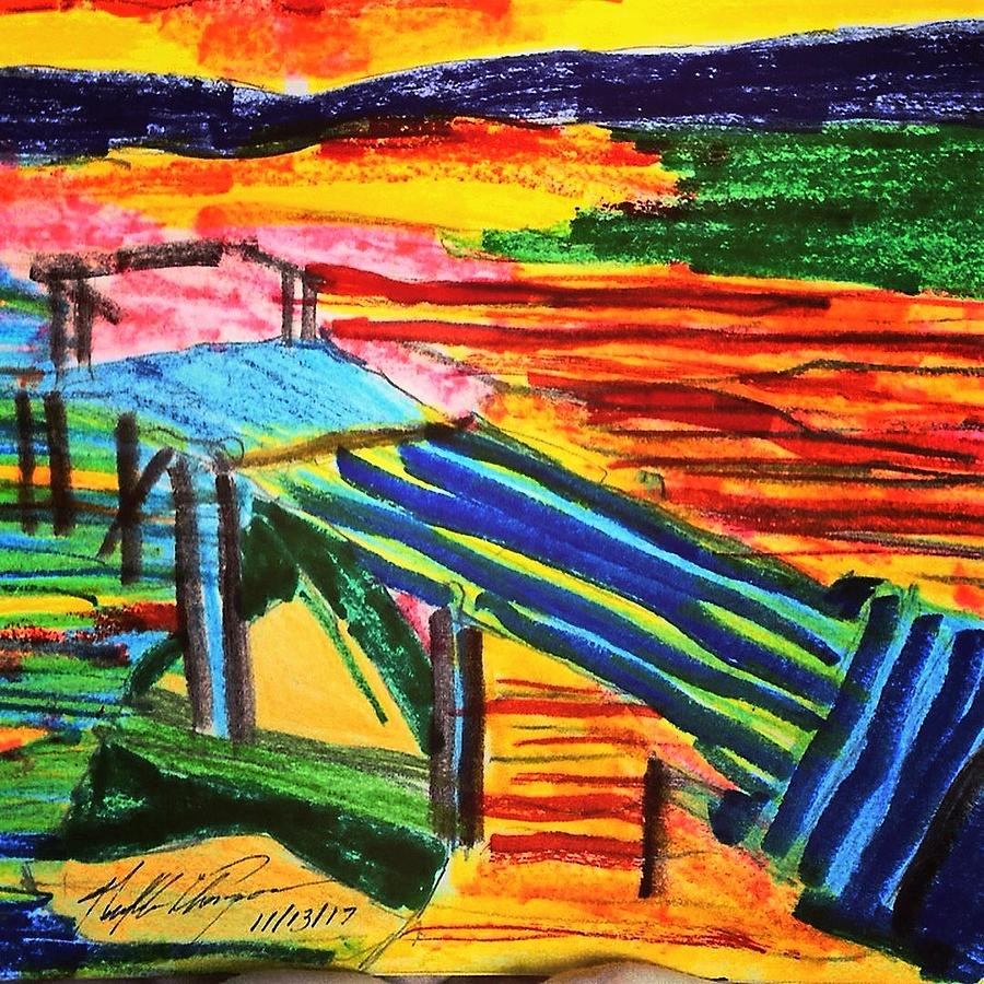 Dock Drawing - Sunset At Dock by Love Art Wonders By God
