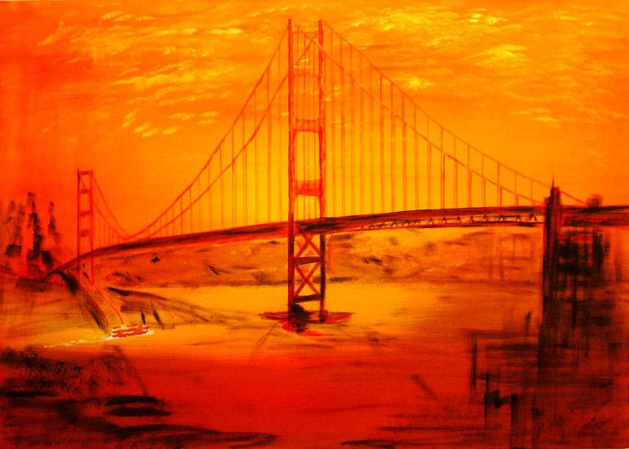 Acryl Painting - Sunset At Golden Gate by Helmut Rottler