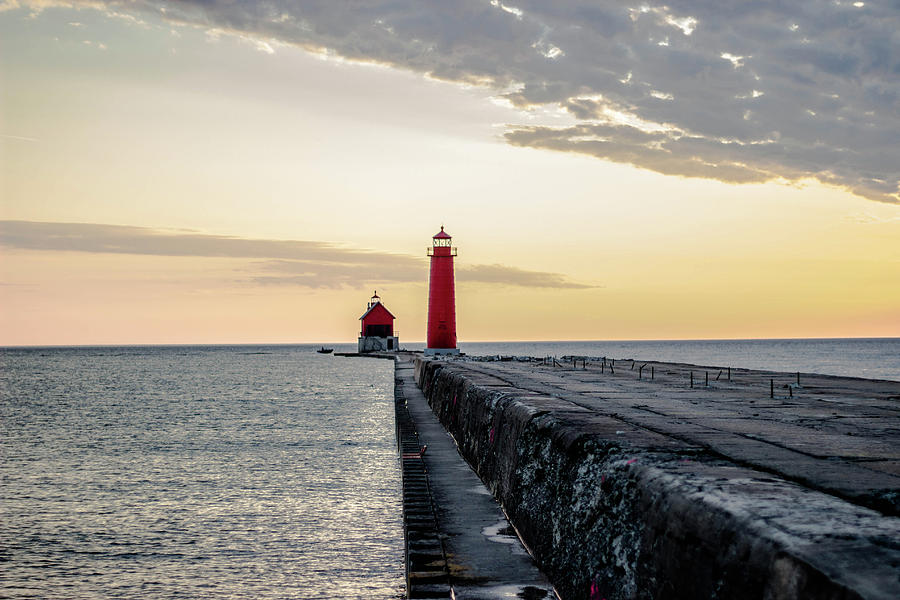 Sunset Photograph - Sunset At Grand Haven by Nolan Holke