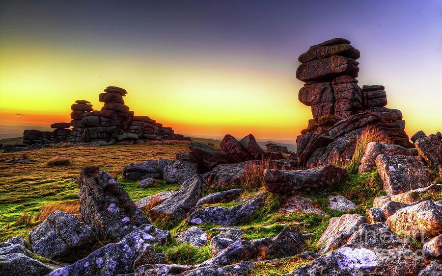 Dartmoor Photograph - Sunset At Great Staple Tor On Dartmoor by Sebastien Coell