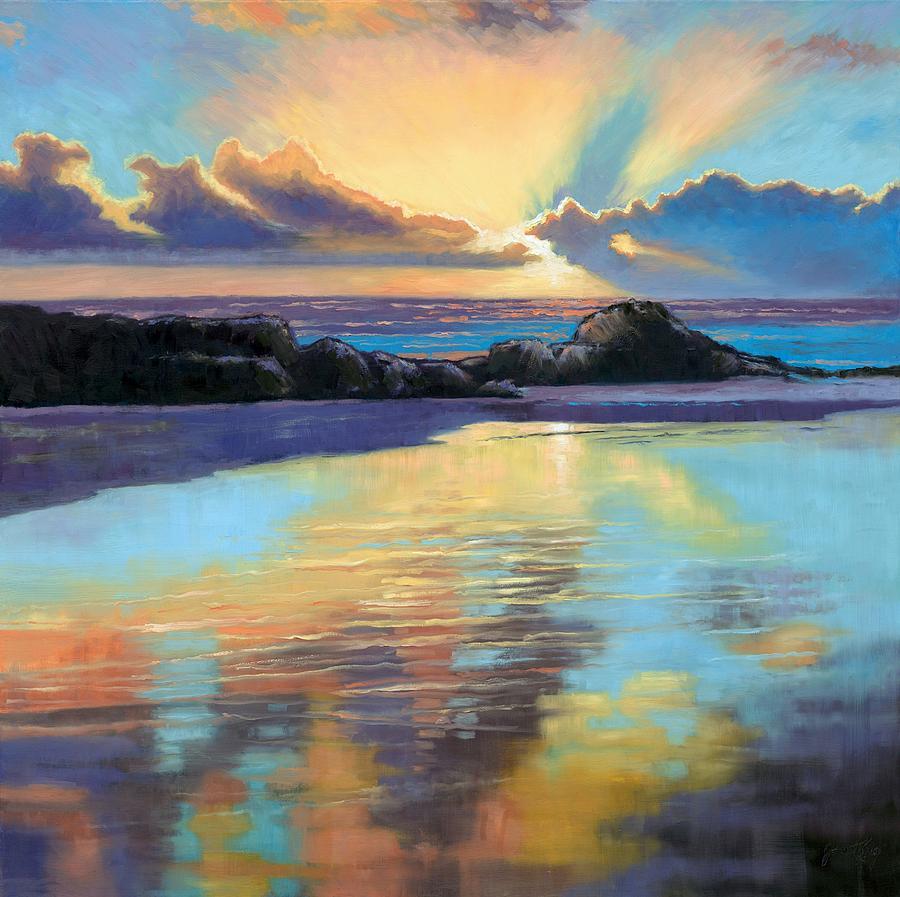 Beach Painting - Sunset At Havika Beach by Janet King