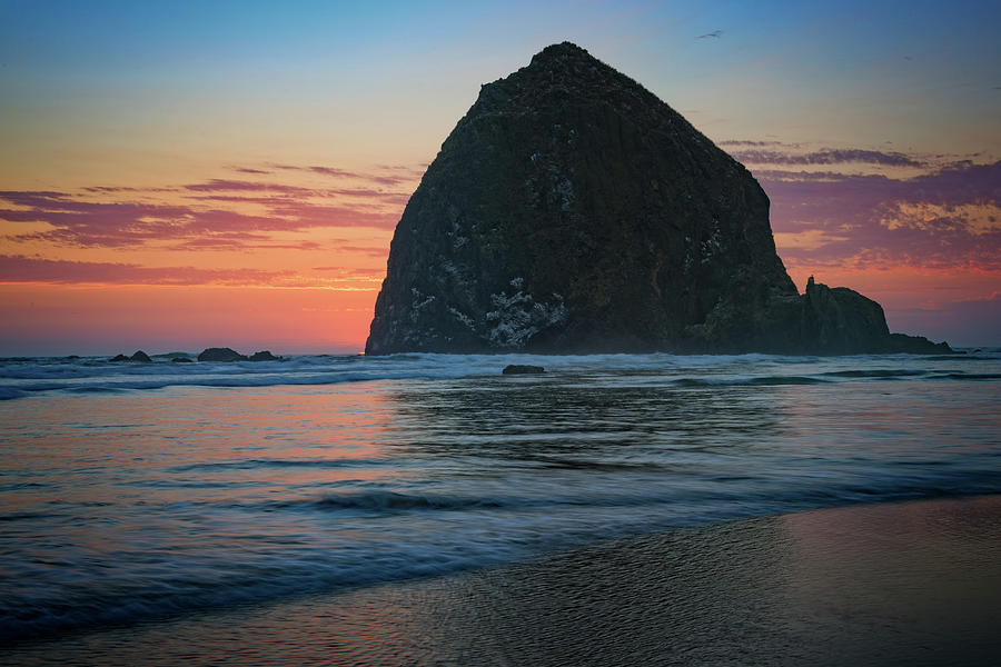 Oregon Photograph - Sunset At Haystack Rock by Rick Berk