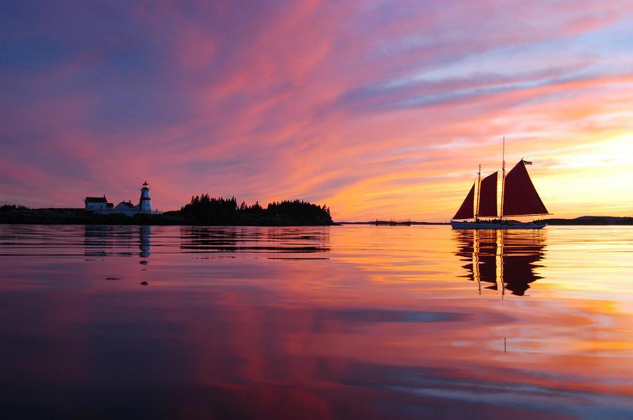 Sunset Photograph - Sunset At Head Harbor by Don Dunbar