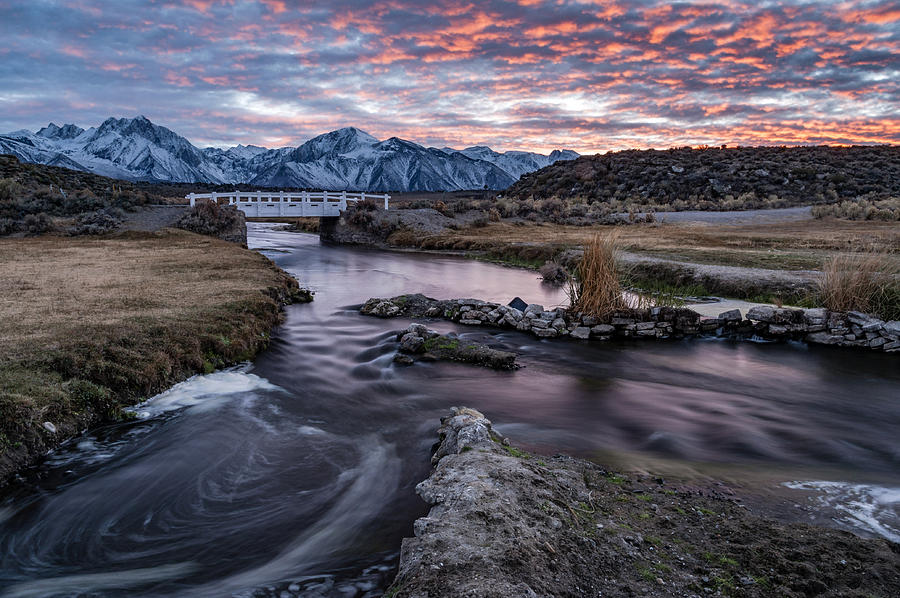 River Photograph - Sunset At Hot Creek by Cat Connor