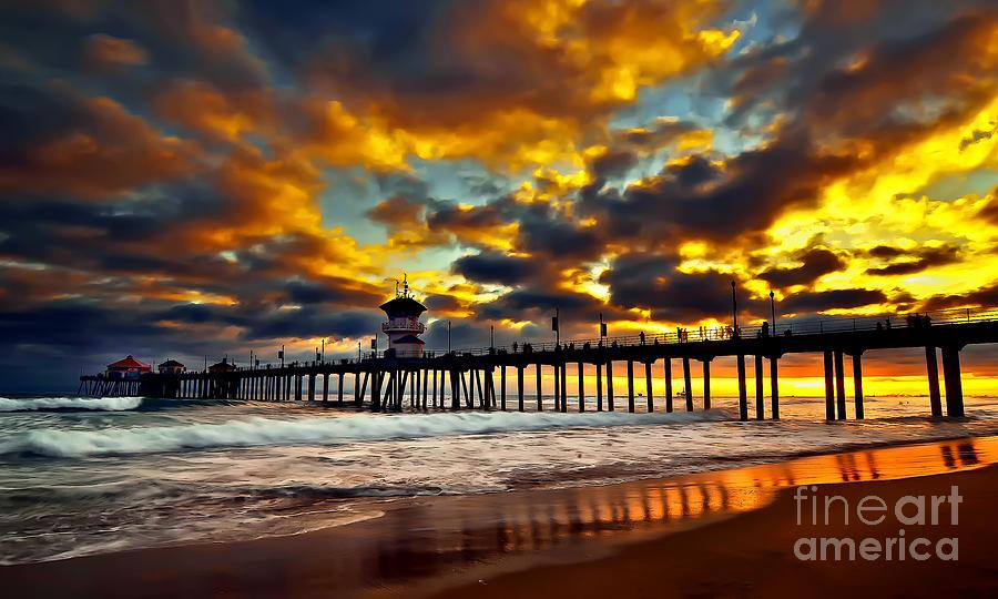 Huntington Beach Photograph - Sunset At Huntington Beach Pier by Peter Dang