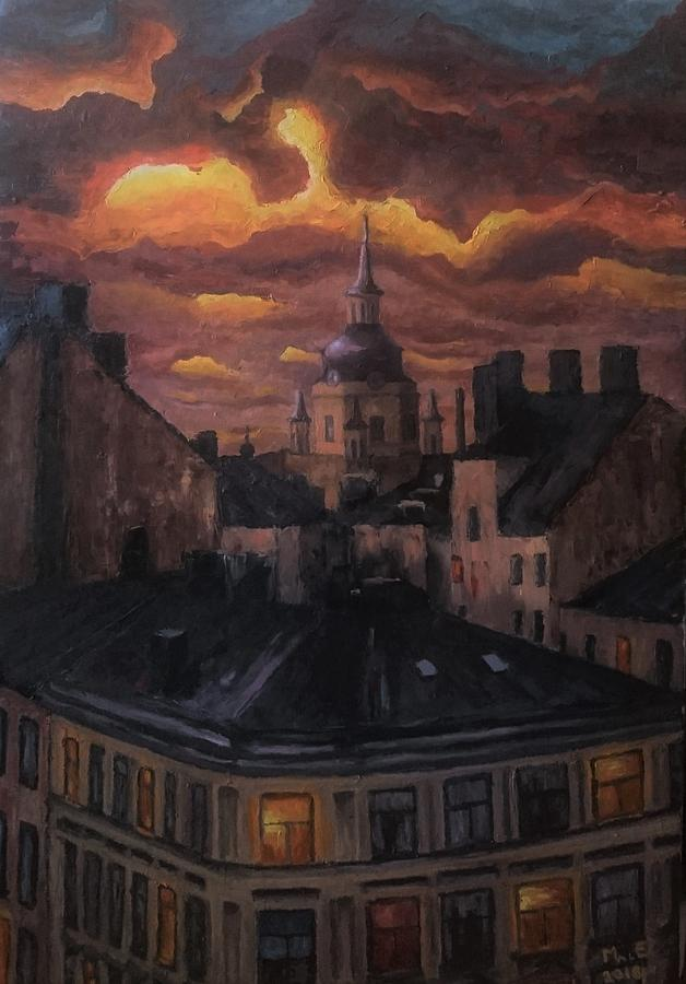 Sunset at Katarina Church, Stockholm by Mats Eriksson