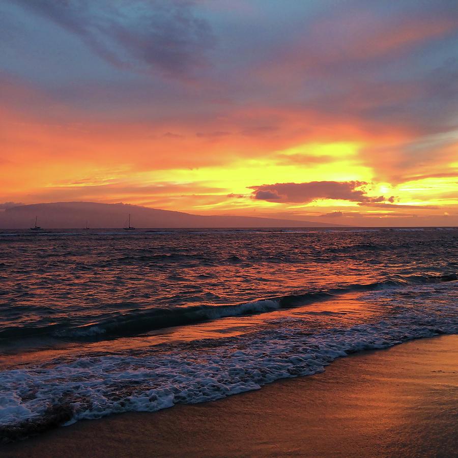 Maui Photograph - Sunset At Lahaina On Maui, Hawaii by Anne Branson