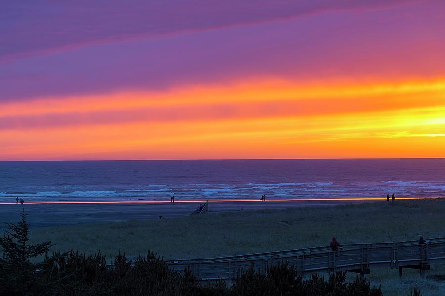 Long Photograph - Sunset At Long Beach Washington by David Gn