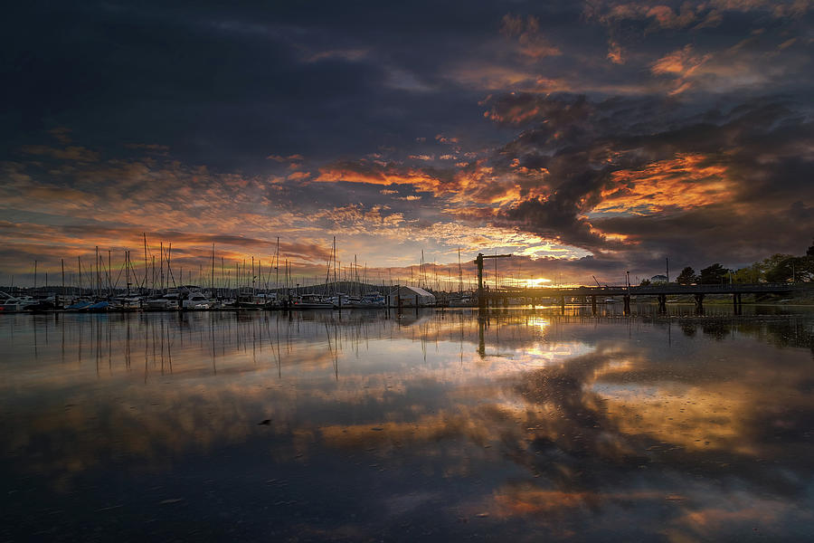 Sunset Photograph - Sunset at Marina in Anacortes in Washington by David Gn