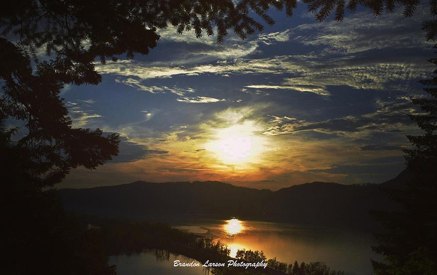 Sunset At Multnomah Falls Photograph by Brandon Larson