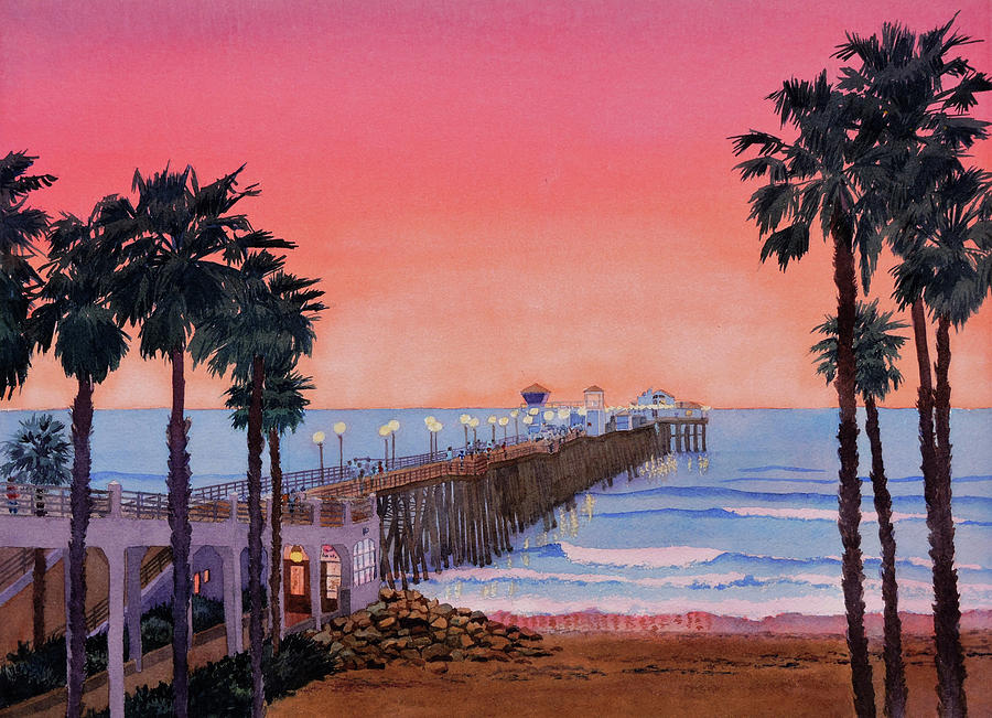 Sunset at Oceanside Pier by Mary Helmreich