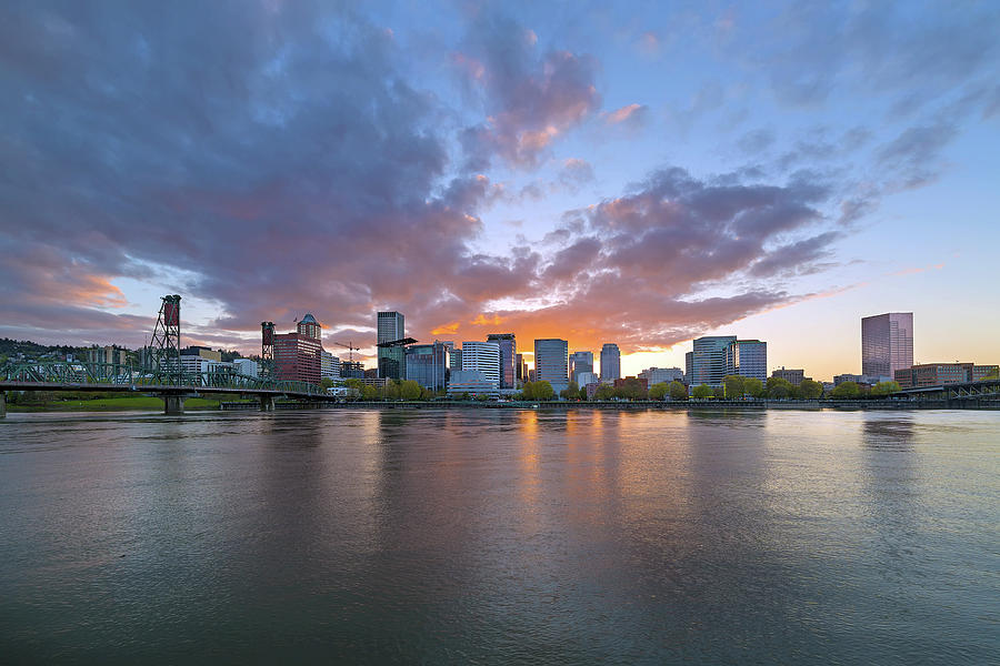 Sunset Photograph - Sunset at Portland Oregon Waterfront by David Gn