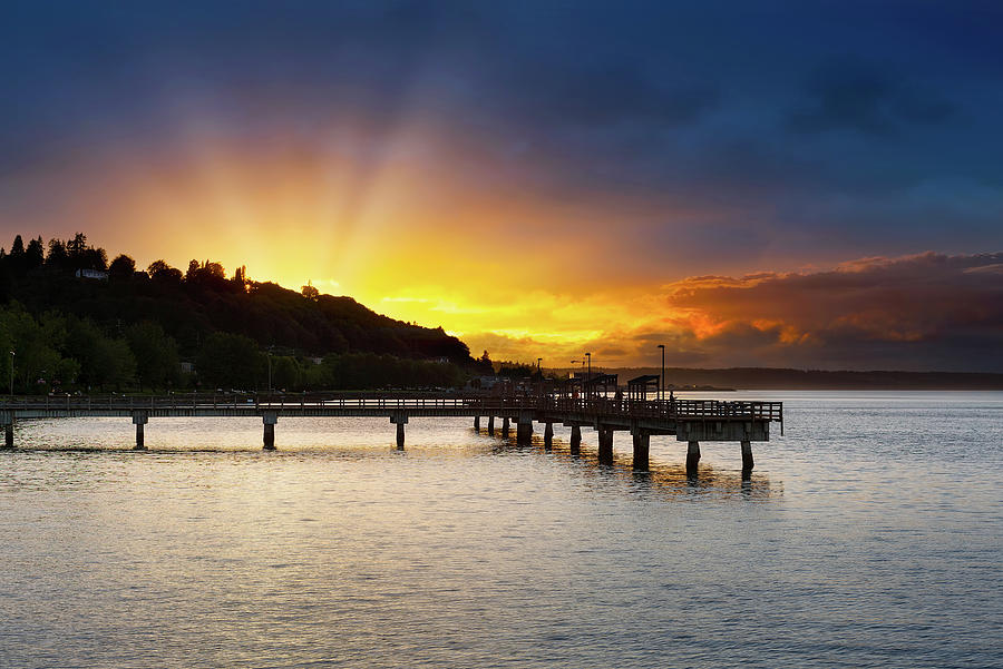 Sunset Photograph - Sunset At Ruston Way Waterfront In Tacoma by David Gn