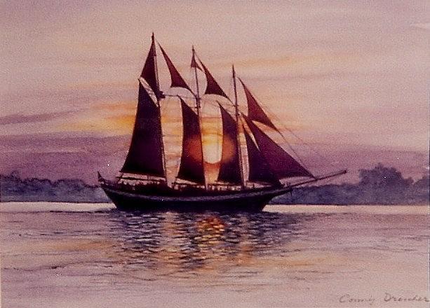 Ship Mixed Media - Sunset At Sea by Constance Drescher