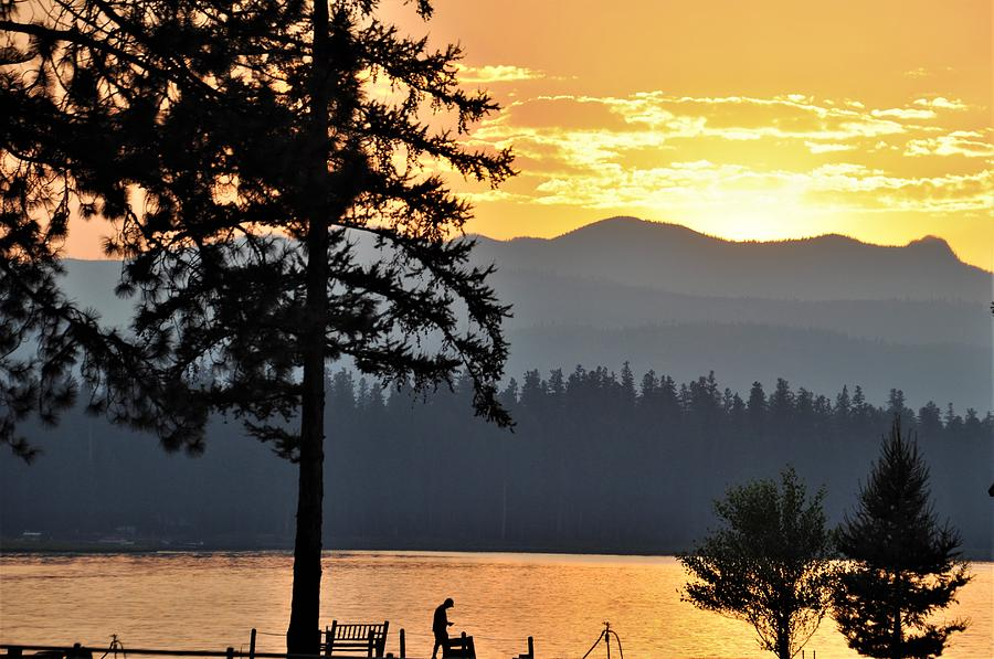 Sunset at Seeley Lake by Mike Helland