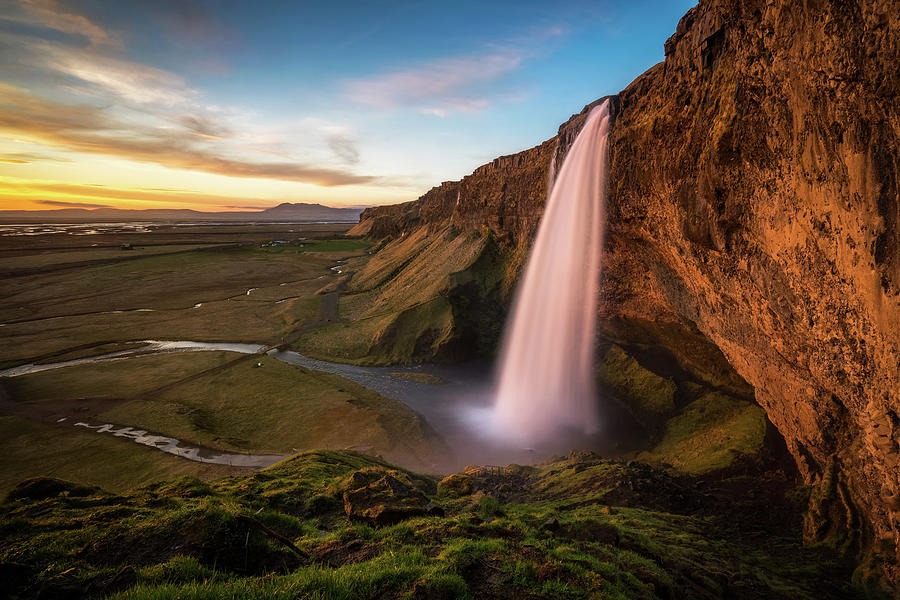 Sunset At Seljalandsfoss Photograph