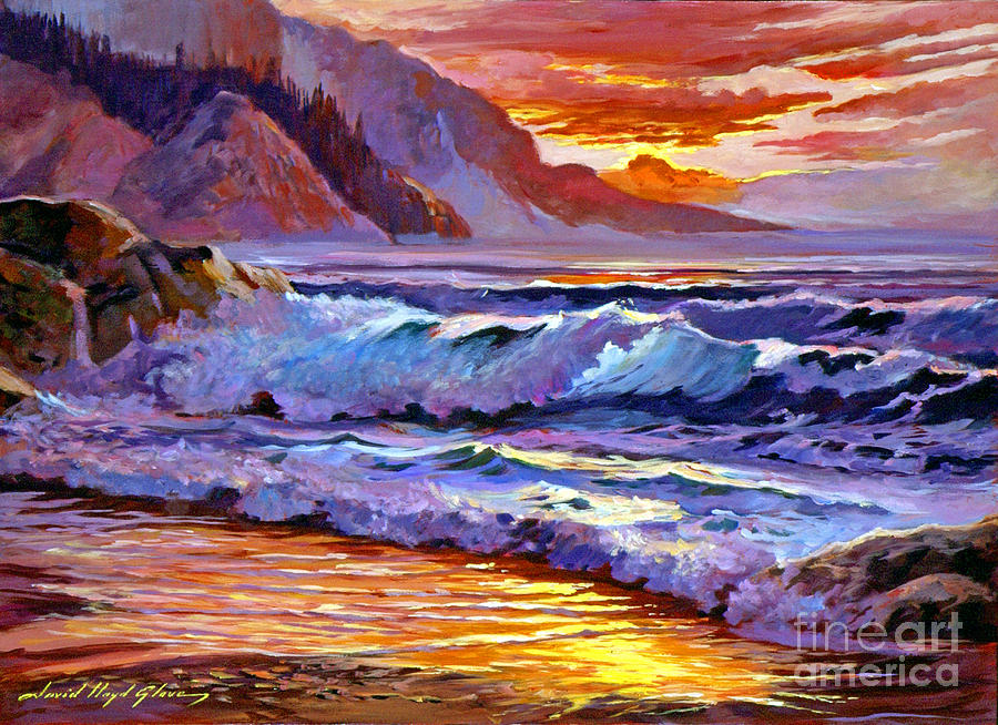 Ocean Painting - Sunset At Shipwreck Beach by David Lloyd Glover