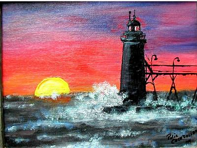 Lighthouse Painting - Sunset At South Heaven by Phil Cashdollar
