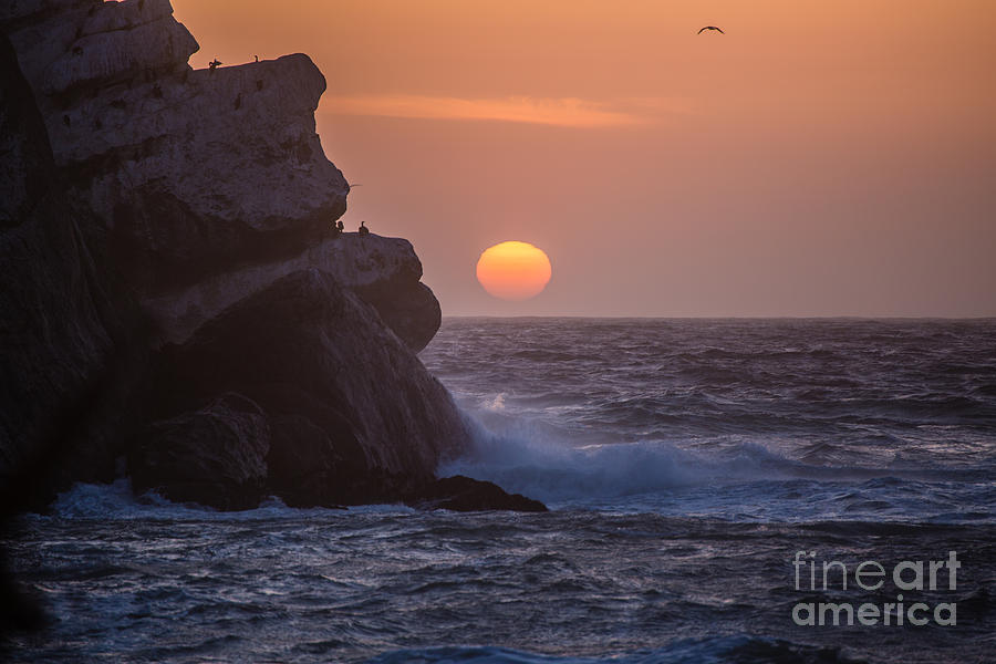Morro Bay Photograph - Sunset At Star Gazer Rock B3967 by Stephen Parker
