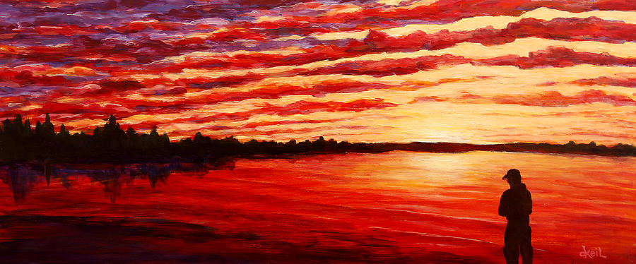 Sunset Painting - Sunset At The Bay by Douglas Keil