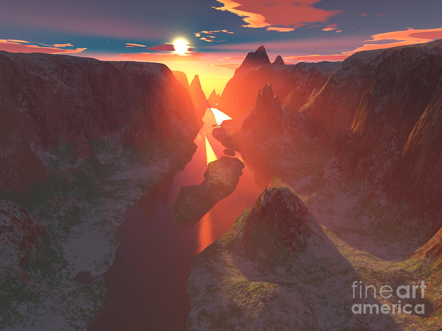 Canyon Digital Art - Sunset At The Canyon by Gaspar Avila