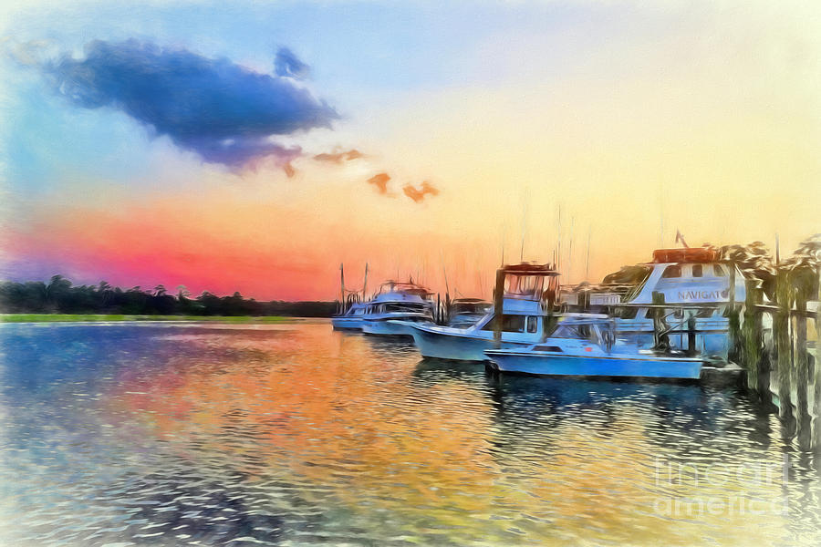 Sunset at the Dock by Irene Dowdy