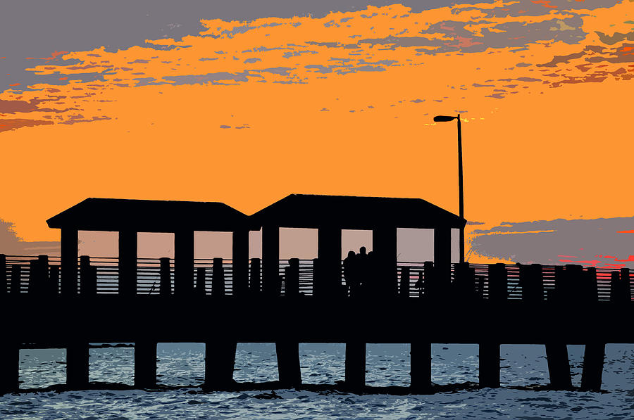 Sea Painting - Sunset At The Fishing Pier by David Lee Thompson