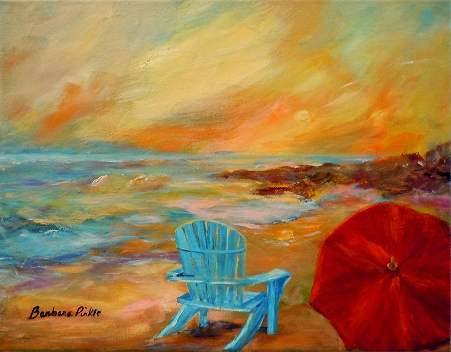 Seascape Painting - Sunset At The Jetty by Barbara Pirkle