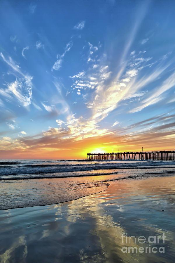 Pismo Beach Photograph - Sunset At The Pismo Beach Pier by Vivian Krug Cotton
