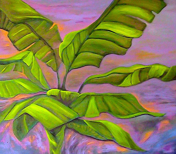 Banana Painting - Sunset at the Plantation by Ruth Kongaika